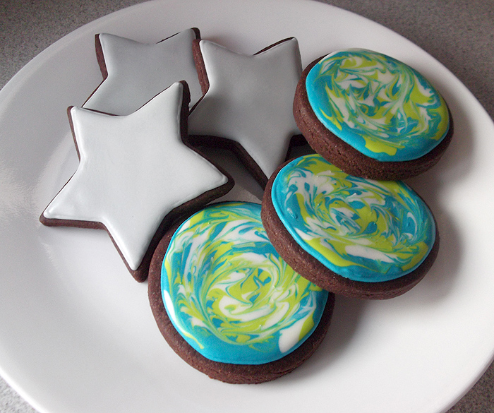 Chocolate sugar cookie stars and planets